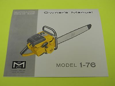 mcculloch chainsaw model 1 76 owners manual man 183d rh picclick com McCulloch Chainsaw Shop Manual McCulloch Chainsaw Model 600091U