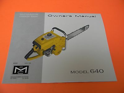mcculloch chainsaw model 640 owners manual man 91b 10 99 rh picclick com McCulloch Chainsaw Shop Manual McCulloch 3216 Chainsaw Repair Manual