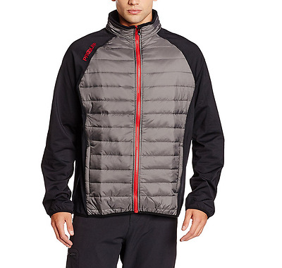 Proquip Men's Therma Tour Jacket - Full Zip - Quilted - Grey/Black - L - Golf