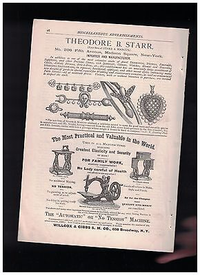1880 The Automatic or No Tension Sewing Machine Half Page Ad