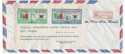 Korean War Souvenir Sheet 1952 registered FDC First Day Cover Italy
