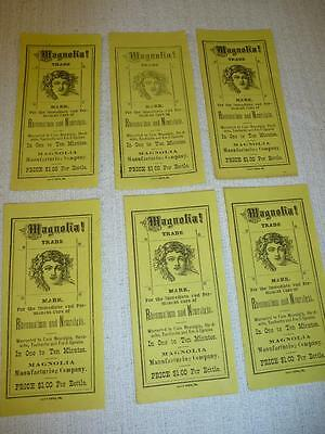 6 Orig Antique 1800s MAGNOLIA CURE Rheumatism Bottle Label Quack Medicine LOT