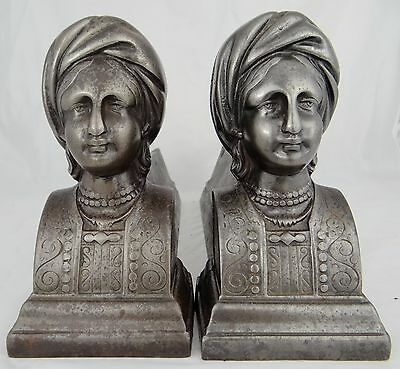 Antique French Cast Iron Fireplace Andirons Firedogs - Persian Woman