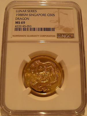 Singapore 1988 Gold 1/2 oz 50 Singold NGC MS-69 Dragon