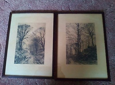 2 Antique Etching 's ' By Fred Slocombe –