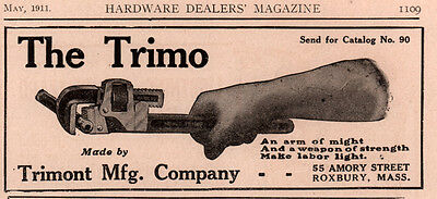 1911 Ad C Trimont Mfg Co The Trimo Pipe Wrench