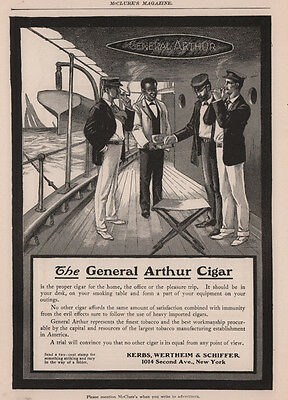 Ad Lot Of 3 Cigar Ads General Arthur Ship Black Servant Army Tent