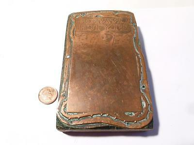 Antique Crawford Flytch Copper Printing Block Bookplate Nouveau James Guthrie #R
