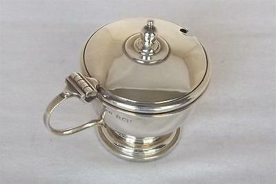 A Stunning Solid Sterling Silver Mustard Pot With Blue Glass Liner Dates 1939.
