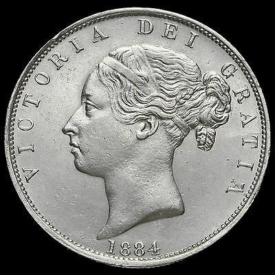 1884 Queen Victoria Young Head Silver Half Crown, Scarce