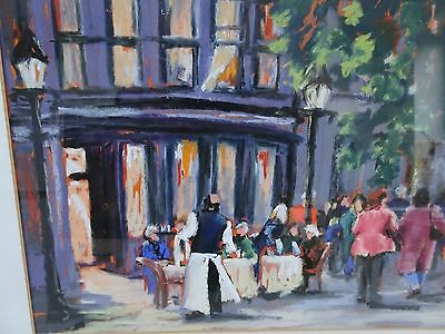 Original framed 20th Century Painting. 'Cafe Life' by Ann Hall. Pastels. Signed.