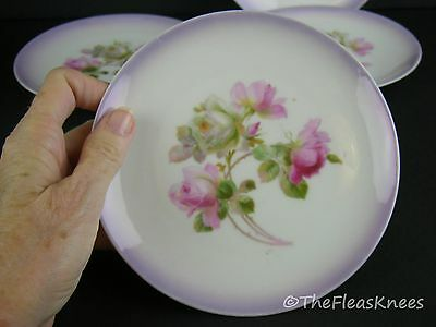 4 Cottage Rose Plates Salad Dessert Bread Vintage Bavaria Beauties