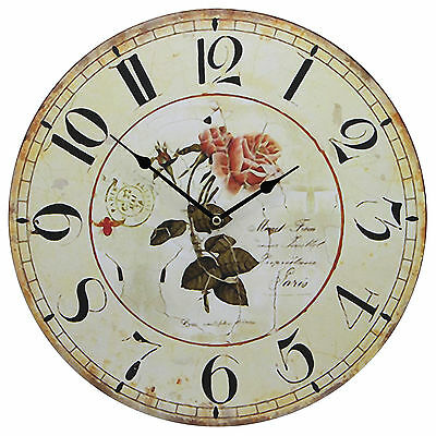"""TKF 13"""" Silent Wall Clock with Vintage French Paris Rose Postcard Rustic Prints"""