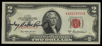 1953A $2.00 Red Seal Courtesy Autograph Ivy Baker Priest Treasurer - VF