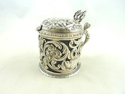 English Sterling Silver & Cobalt Mustard Pot By William Comyns & Son 1891