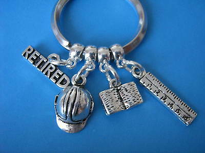 Retired Civil Engineer Keyring Retirement Gift Engineer Builder Construction