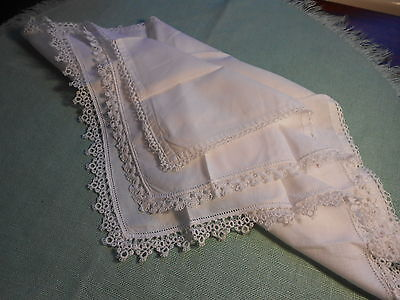 3 Vintage Hand Made Bobbin  Lace Edged Hankies Fine White Linen/cotton