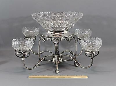 Antique High Quality Sheffield Silverplate Fruit Epergne Lead Crystal Bowls, NR