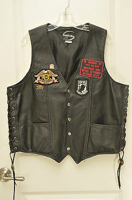 Harley Davidson Lace Sides Black Leather Sturgis Motorcycle Vest with patches XL