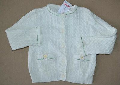 New Gymboree Flower Showers White Cable Knit Cardigan Sweater Girl's Sz 3-6M