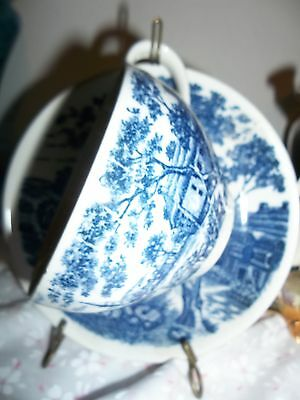 English Village Japan Marked Cobalt Blue 2 Pc Cup And Saucer