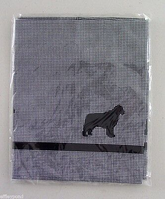 Newfoundland Dog Valance Curtain Houndstooth w/ black Sample Sale one only