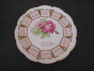 1909 Calendar Plate Compliments of First National Bank Defiance, Ohio