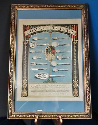 Antque Print Ad COMMUNITY Silverplated Flatware Christmas 1926 Matted & Framed
