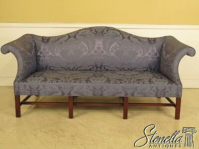 41994: SAYBOLT CLELAND Blue Damask Upholstered Chippendale Sofa