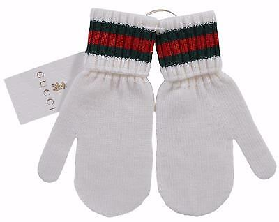 New Gucci Kid's 269522 White Wool Green Red Web Stripe Winter Mittens Gloves M