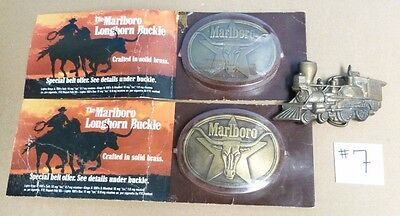 Vtg 3Pc Belt Buckle Lot: 2 Marlboro Longhorns & 1 Railroad Train Pre Owned #7