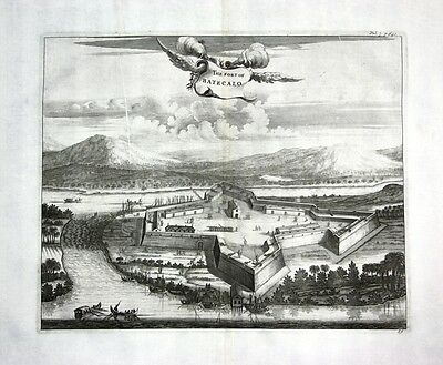 1730 - Fort Batticaloa Sri Lanka - Kupferstich / engraving map Karte