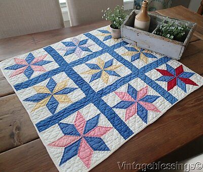 Gorgeous! VINTAGE 30s Blue White Stars Crib or Table 27x26