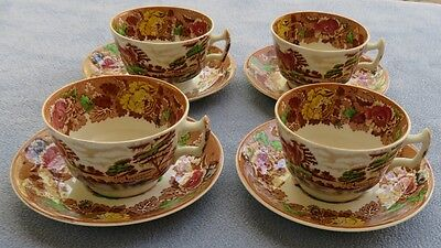 4 Enoch Woods English Scenery Woodsware Multi-color Cup and Saucer Sets England