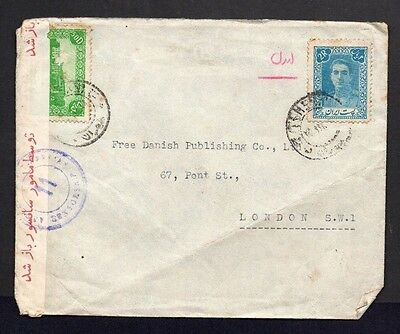 Persia - 1940s 2 stamps on Local Censor Cover to Free Danish, London (I-)
