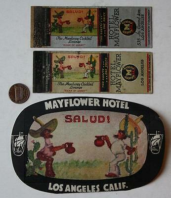 1940-50s Los Angeles,California Mayflower Hotel Decal & 2 Matchbook set-3 pieces