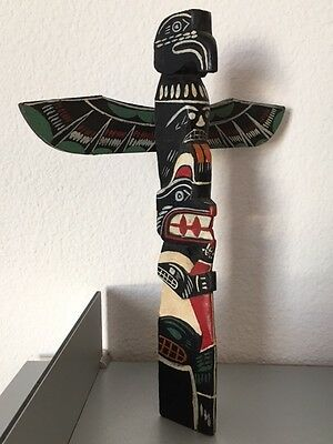 Northwest Coast Cowichan Indian Totem Pole, Detailed Painting & Strong Presence