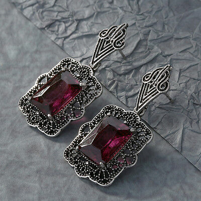 Fashion Women Boho Red Crystal Square Drop Dangle Vintage Earrings Jewelry Gift