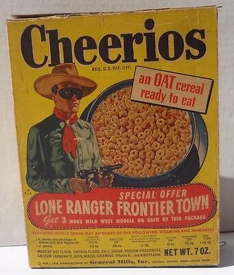 1948 General Mills Cheerios Cereal Box The Lone Ranger western frontier town 3
