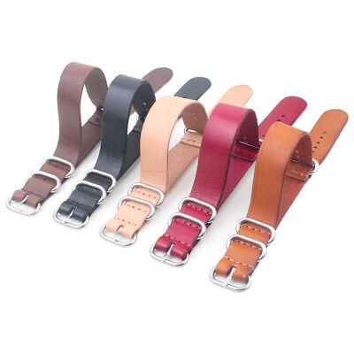New 18/20/22/24mm Ring Buckle Nato Real Leather Watch Strap Band Watchband Cheap