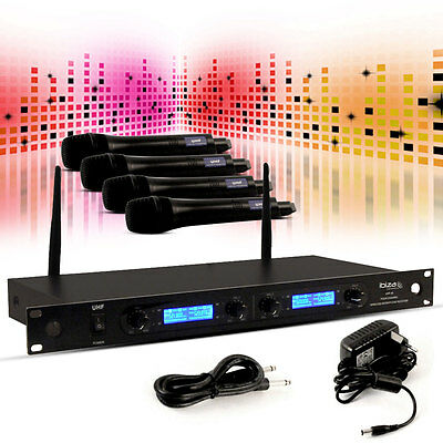 Entertainment UHF Mikrofon System Set Wireless Karaoke Party Keller Anlage Event