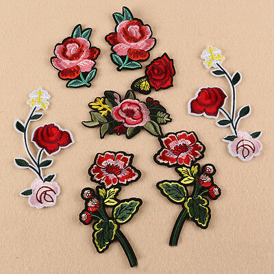 8Pcs/set Sew Embroidery Flowers Iron On Patch Badge Applique Patches With Glue.