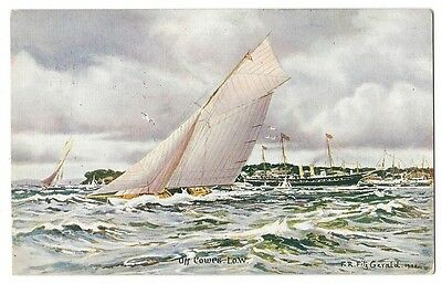 ISLE OF WIGHT Sailing Yacht and Steamer off Cowes by FR Fitzgerald, Old Postcard