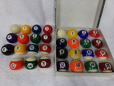 Pool table billiard balls 1 1/2 inch complete set w/ spares