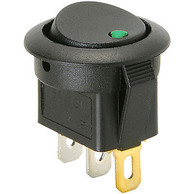 1x Green LED Round Snap-In Rocker Switch, 3 Pins, ON-OFF 20A 12V DC For Car, DIY
