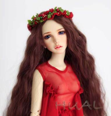 8-9 1/3 BJD Red Brown Curly Long Wig LUTS Doll SD DZ DOD MSD Hair