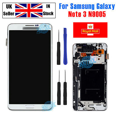 For Samsung Note 3 Galaxy N9005 LCD Screen Touch Display White+Frame Replacement