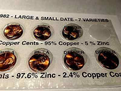 1982 P&D LINCOLN CENT 7 COIN  set **FREE SHIPPING** *With History Story*