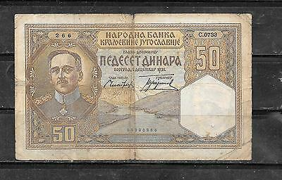 Yugoslavia #30 1938 20 Dinara Old Wwii Banknote Paper Money Currency Bill Note