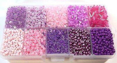 Rocailles Perlen 2mm 3mm 4mm 6mm Lila Rosa Set Silbereinzug Matt in Box DIY AM4
